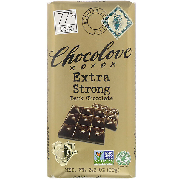 Chocolove, Extra Strong Dark Chocolate, 77 Cocoa, 3.2 oz (90 g)