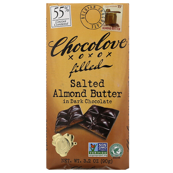 Salted Almond Butter in Dark Chocolate, 55% Cocoa, 3.2 oz (90 g)
