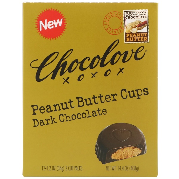 Chocolove, Peanut Butter Cups, Dark Chocolate, 55% Cocoa, 12- 2 Cup Packs, 1.2 oz (34 g) Each (Discontinued Item)