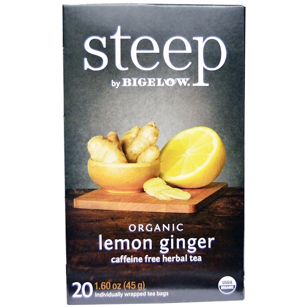 Bigelow, Steep, Organic Lemon Ginger, Caffeine Free Herbal Tea, 20 Bags, 1.60 oz (45 g) (Discontinued Item)