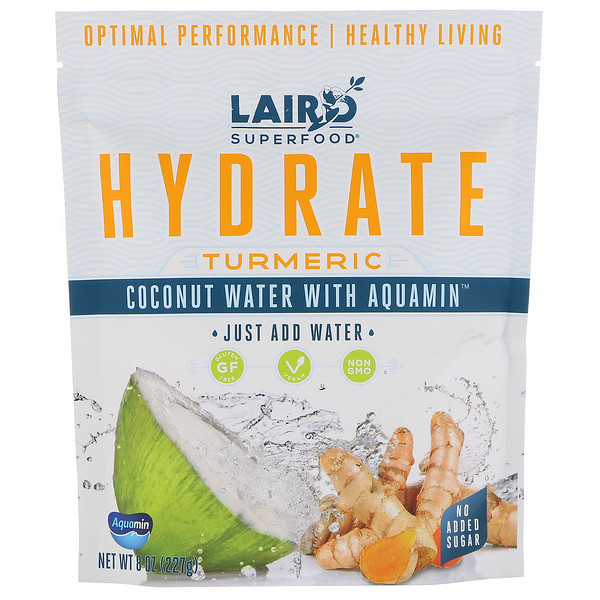Laird Superfood, Hydrate, Tumeric, Coconut Water with Aquamin, 8 oz (227 g) (Discontinued Item)