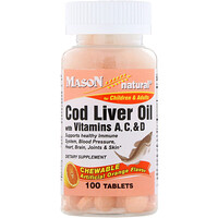Chewable Cod Liver Oil, with Vitamins A, C, & D, Orange Flavor, 100 Tablets - фото