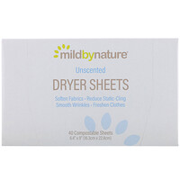 Dryer Sheets, Unscented, 40 Compostable Sheets - фото