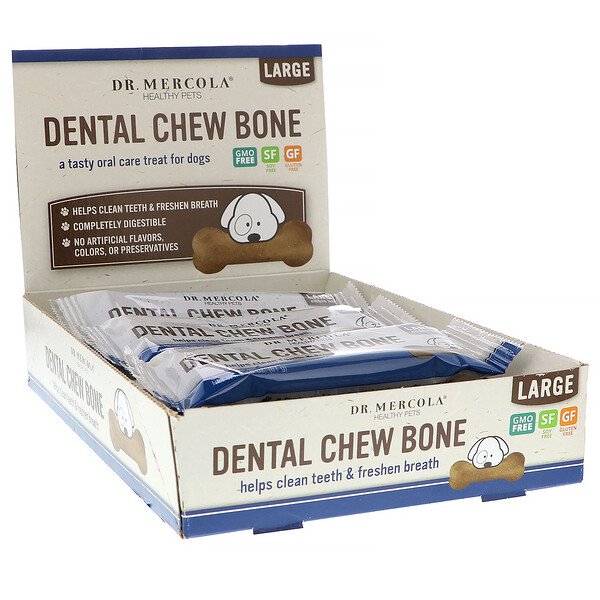 Dental Chew Bone, Large, For Dogs, 12 Bones, 2.15 oz (61 g) Each