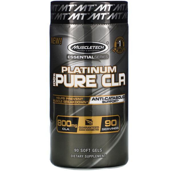 Muscletech, Essential Series, Platinum 100% Pure CLA, 800 mg, 90 Soft Gel Caps