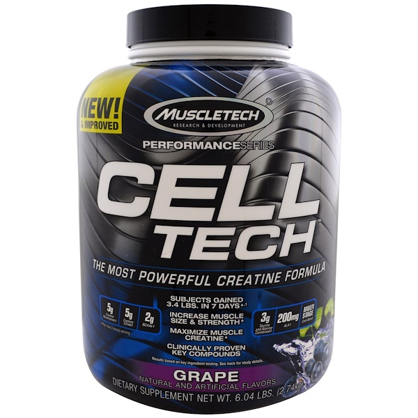 Muscletech, Performance Series, CELL-TECH, The Most Powerful Creatine Formula, Grape, 6.04 lbs (2.74 kg) (Discontinued Item)