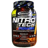 Nitro Tech Power Ultimate Muscle Amplifying Protein, Triple Chocolate Supreme, 2 lbs (907 g) - фото