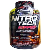 Nitro Tech, Ripped, Ultimate Protein + Weight Loss Formula, Whey Protein Powder, Chocolate Fudge Brownie, 4 lbs (1.81 kg) - фото