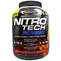 Nitro Tech Power, Ultimate Muscle Amplifying Whey Protein Powder, Triple Chocolate Supreme, 4.00 lbs (1.81 kg) - фото