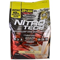 Nitro Tech, Whey Isolate + Lean Musclebuilder, Vanilla, 10 lbs (4.54 kg) - фото
