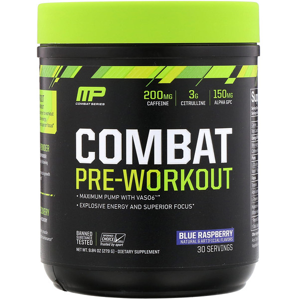 MusclePharm, Combat, Pre-Workout, Blue Raspberry, 9.84 oz (279 g) (Discontinued Item)