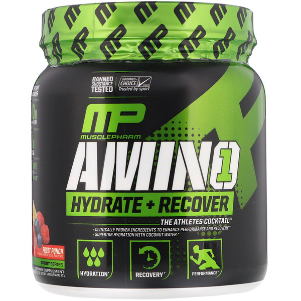 Amino1, Hydrate + Recover, Fruit Punch, 15 oz (426 g)