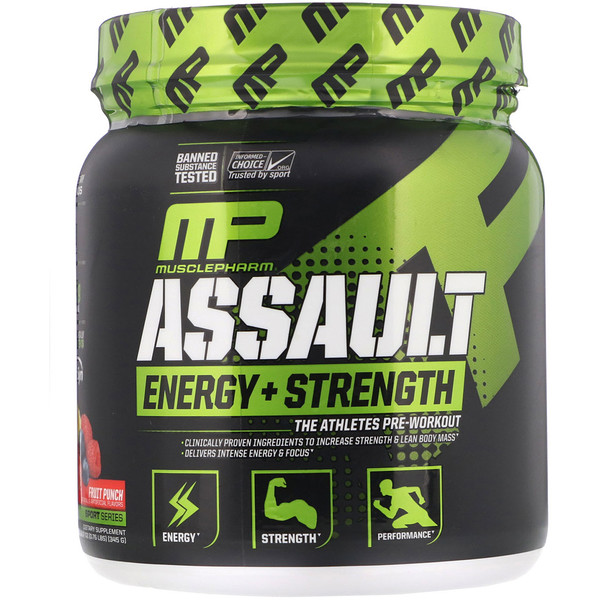 Assault Energy + Strength, Pre-Workout, Fruit Punch, 12.17 oz (345 g)