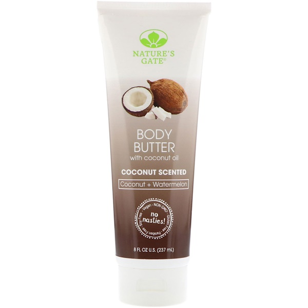 Nature's Gate, Body Butter, Coconut Scented, 8 fl oz (237 ml) (Discontinued Item)
