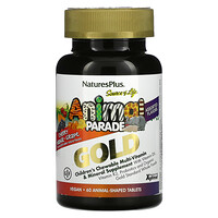 Source of Life, Animal Parade Gold, Children's Chewable Multi-Vitamin & Mineral Supplement, Assorted Flavors, 60 Animal-Shaped Tablets - фото