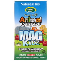 Animal Parade, MagKidz, Children's Magnesium, Natural Cherry Flavor, 90 Animal-Shaped Tablets - фото
