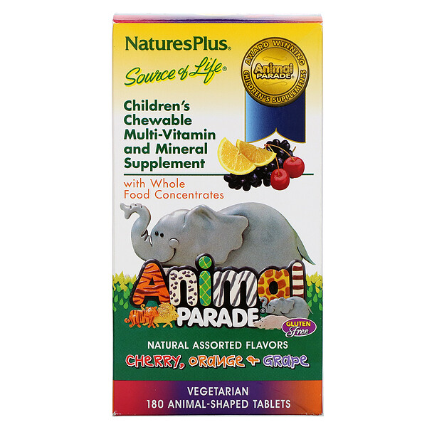 Nature's Plus, Animal Parade, Children's Chewable Multi-Vitamin and Mineral, Natural Assorted Flavors, 180 Animal-Shaped Tablets