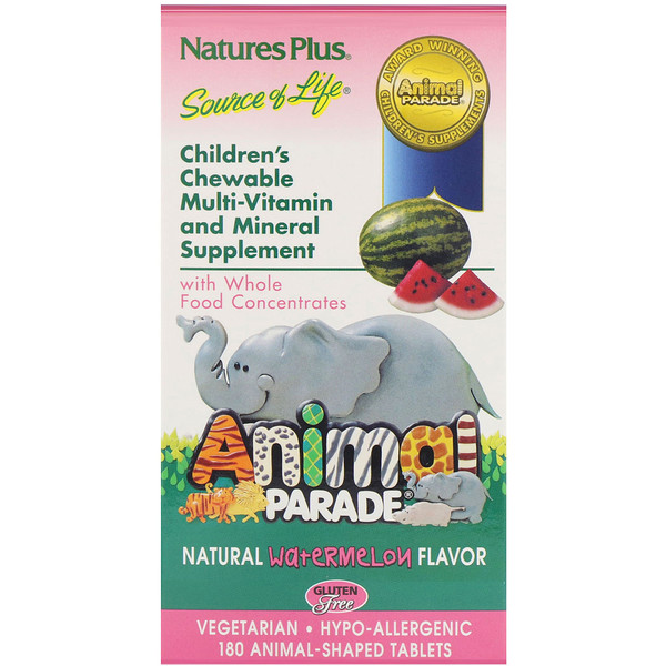 Source of Life, Animal Parade, Children's Chewable Multi-Vitamin and Mineral Supplement, Natural Watermelon Flavor, 180 Animal-Shaped Tablets