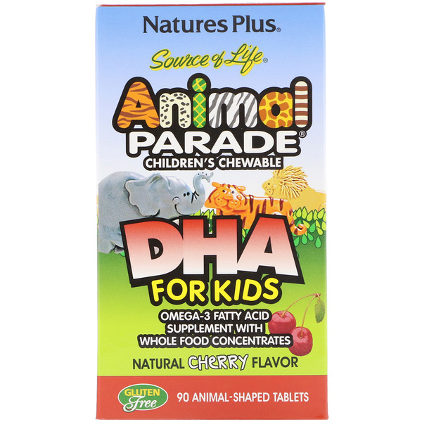 Source of Life, Animal Parade, DHA for Kids, Children's Chewable, Natural Cherry Flavor, 90 Animal-Shaped Tablets