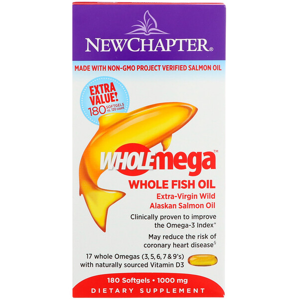 New Chapter, Wholemega, Extra-Virgin Wild Alaskan Salmon, Whole Fish Oil, 1,000 mg, 180 Softgels