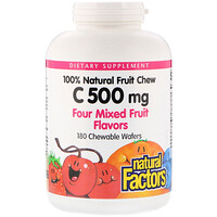Vitamin C, 100% Natural Fruit Chew, Four Mixed Fruit Flavors, 500 mg, 180 Chewable Wafers - фото