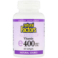 Vitamin E, Clear Base, 400 IU, 60 Softgels - фото