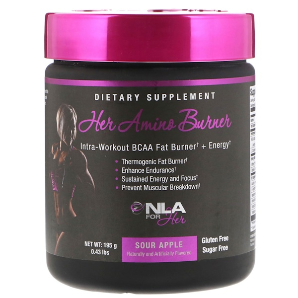 NLA for Her, Her Amino Burner, Intra-Workout BCAA Fat Burner + Energy, Sour Apple, 0.43 lbs (195 g) (Discontinued Item)