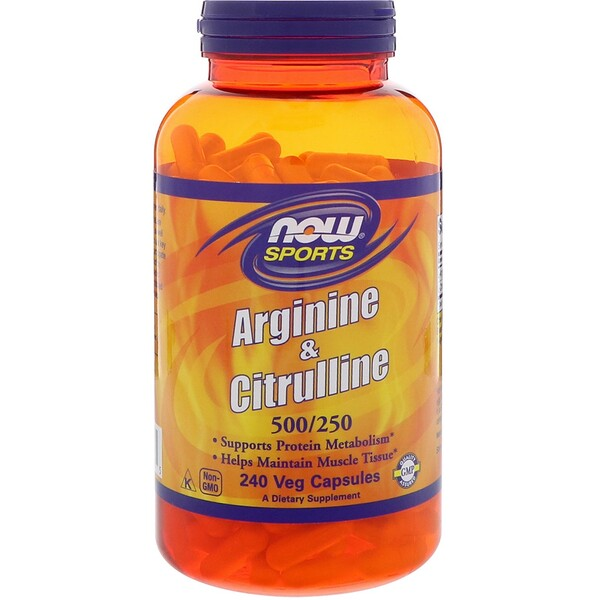 Now Foods, Sports, Arginine & Citrulline, 500 mg /250 mg, 240 Veg Capsules