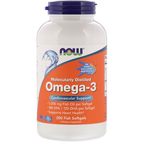 Molecularly Distilled Omega-3, 180 EPA/120 DHA, 200 Fish Softgels - фото