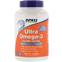 Ultra Omega-3, 500 EPA/250 DHA, 180 Fish Softgels - фото