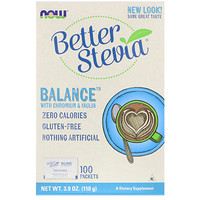 Better Stevia Balance with Chromium & Inulin, 100 Packets, (1.1 g) Each - фото