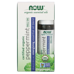 Now Foods, Certified Organic Peppermint Roll-On, 1/3 fl oz (10 ml)'