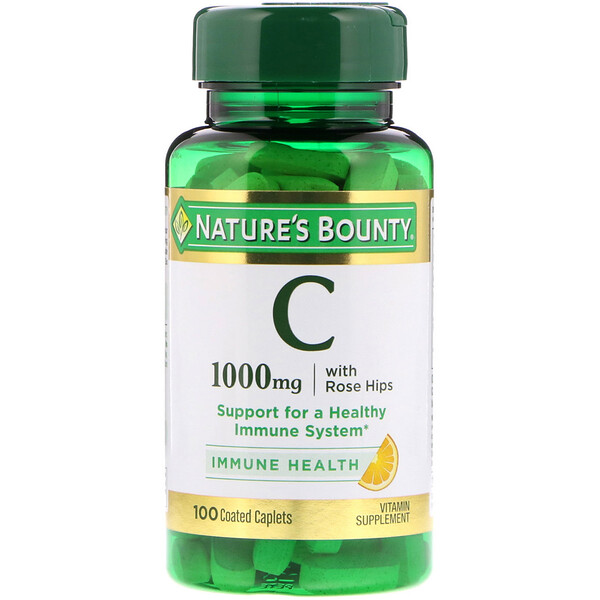 Nature's Bounty, Vitamin C with Rose Hips, 1,000 mg, 100 Coated Caplets
