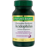 Chewable Probiotic Acidophilus, Natural Strawberry Flavor, 100 Chewable Wafers - фото