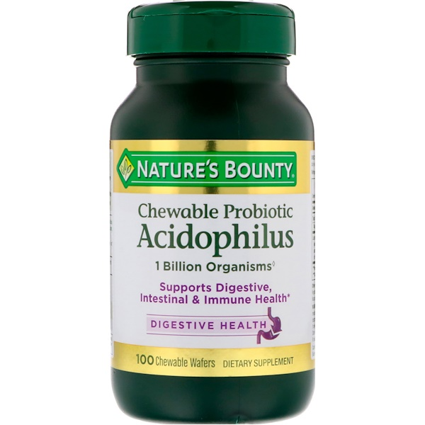 Chewable Probiotic Acidophilus, Natural Strawberry Flavor, 100 Chewable Wafers