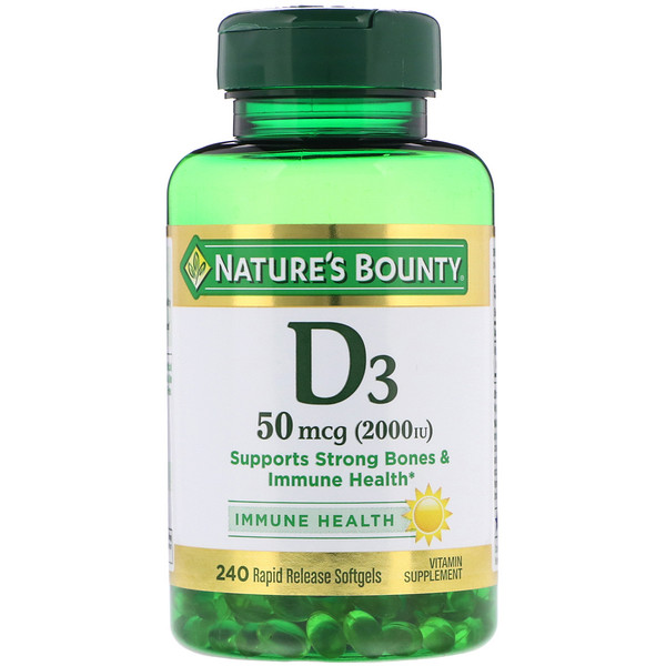 Nature's Bounty, D3, 50 mcg (2000 IU), 240 Rapid Release Softgels