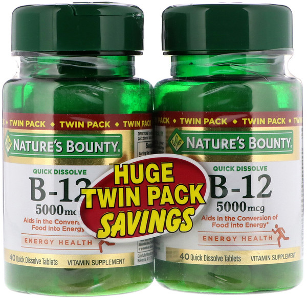 B-12, Twin Pack, Naturally Cherry Flavor, 5,000 mcg, 40 Quick Dissolve Tablets Each