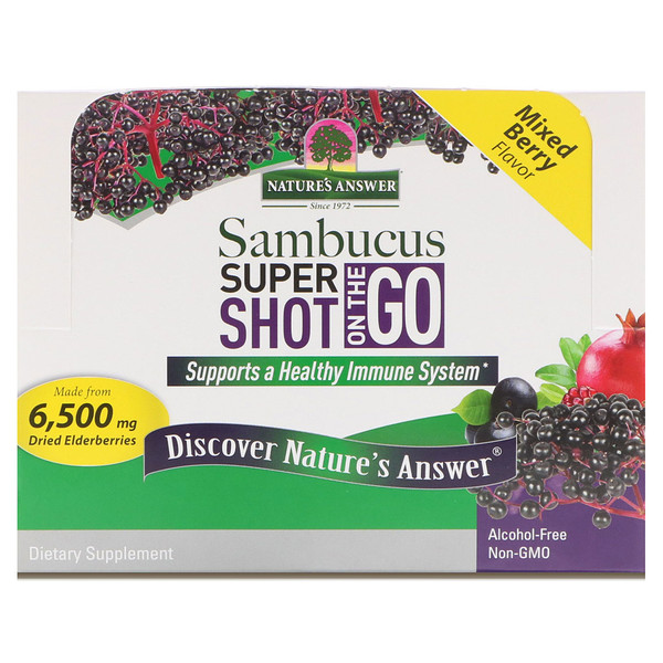 Nature's Answer, Sambucus Super Shot On The Go, Mixed Berry , 12 Pack, 2 fl oz (60 ml) Each (Discontinued Item)
