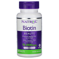 Biotin, Maximum Strength, 10,000 mcg, 200 Tablets - фото