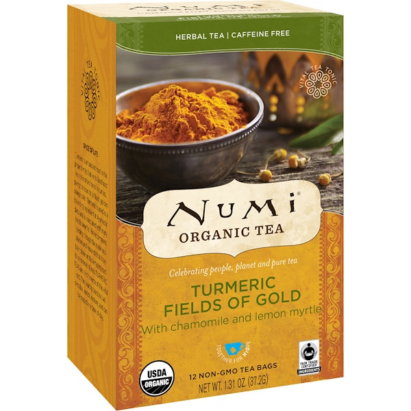 Numi Tea, Organic Tea, Herbal Tea, Turmeric Fields of Gold, 12 Tea Bags, 1.31 oz (37.2 g) (Discontinued Item)