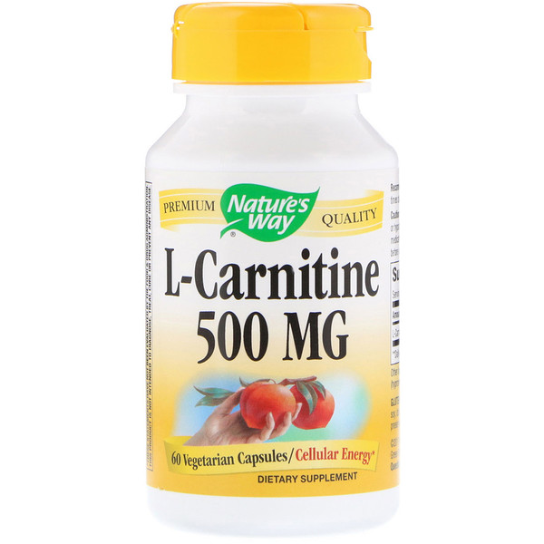 Nature's Way, L-Carnitine, 500 mg, 60 Vegetarian Capsules (Discontinued Item)