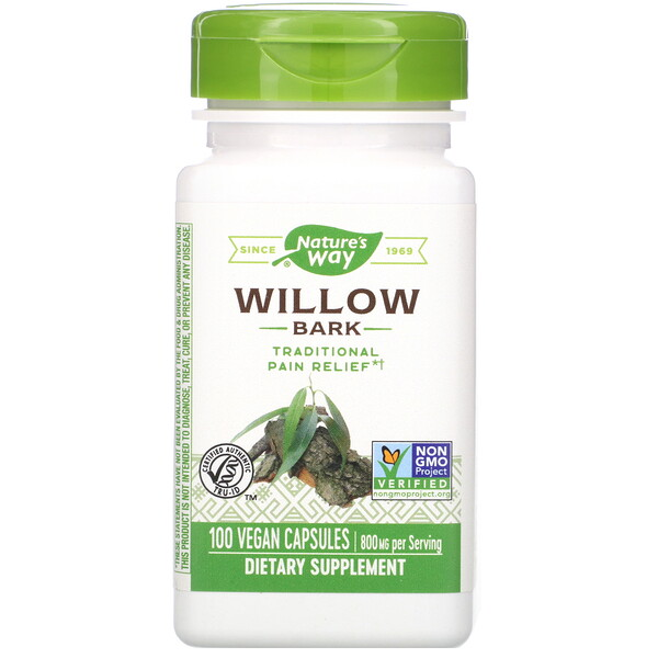 Nature's Way, Willow Bark, 800 mg, 100 Vegan Capsules