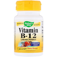 Vitamin B-12, Cherry Flavored, 2,000 mcg, 100 Lozenges - фото