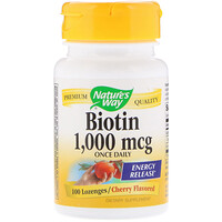 Biotin, Cherry Flavored, 1,000 mcg, 100 Lozenges - фото