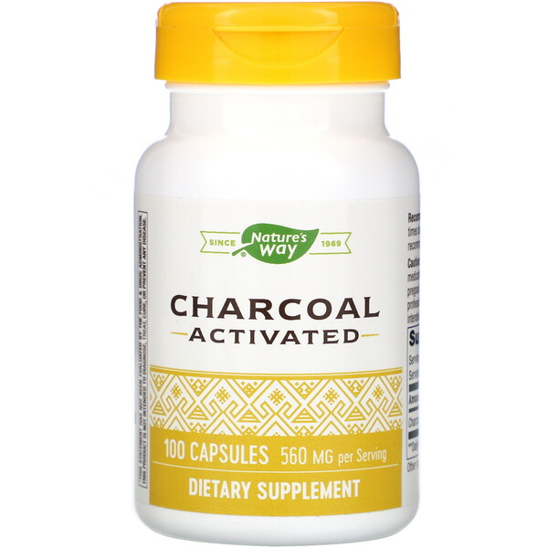 Nature's Way, Charcoal Activated, 560 mg, 100 Capsules