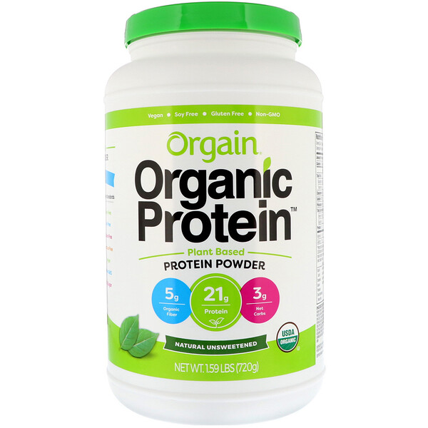 Orgain, Organic Protein Powder, Plant Based, Natural Unsweetened, 1.59 lbs (720 g) (Discontinued Item)