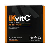 Vitamin C, Essential, Effervescent Drink Mix, Natural Orange Flavor, 1,000 mg , 30 Packets, 0.24 oz (6.90 g) Each - фото
