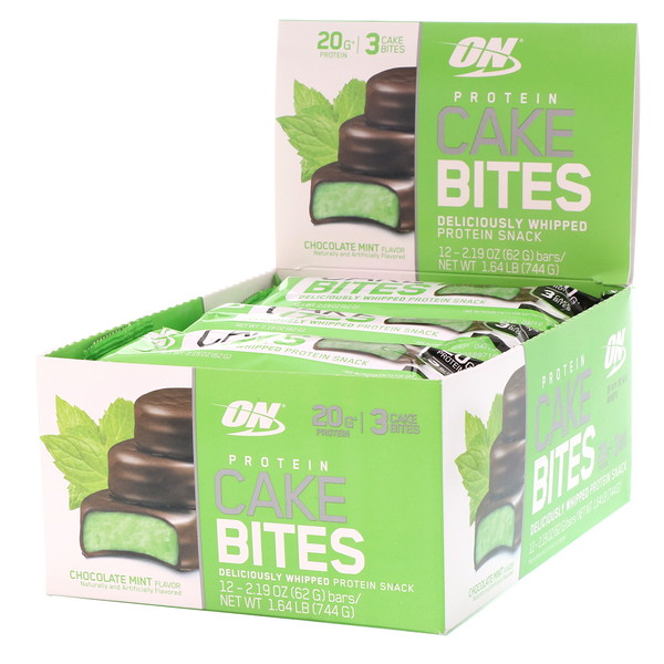 Optimum Nutrition, Protein Cake Bites, Chocolate Mint, 12 Bars, 2.19 oz (62 g) (Discontinued Item)