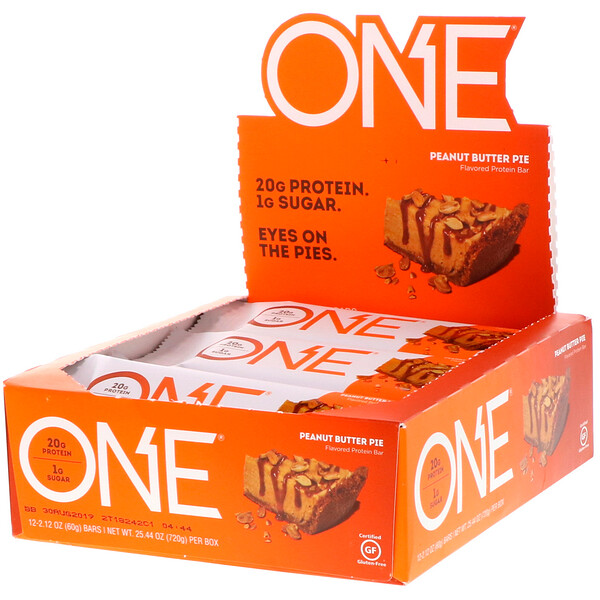 ONE Bar, Peanut Butter Pie Flavor, 12 Bars, 2.12 oz (60 g) Each