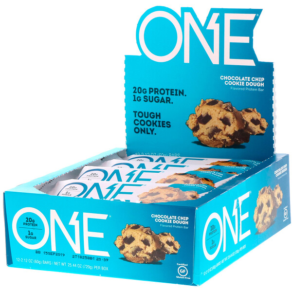 One Brands, ONE Bar, Chocolate Chip Cookie Dough, 12 Bars, 2.12 oz (60 g) Each